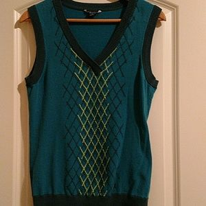 Oakley Teal Blue and Green argyle sweater vest